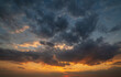 canvas print picture Summer sunset sky with fleece colorful clouds. Evening dusk good weather natural background.