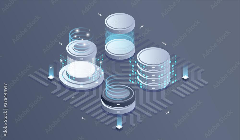 Fototapeta Datacenter isometric vector illustration. information flow,digital science lab, data center server room isometric concept.
