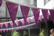 canvas print picture - Purple bunting hanging.