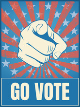 American Presidential Election 2020 Campaign Poster Template. Hand Pointing, Go Vote Message, Motivational Flyer.