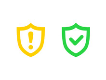 Danger Warning Icon. Danger Warning. Vector Icon. Risk Sign. Information Sign. Exclamation Icon. Alert Sign. Alarm Sign. Shield With Check Mark. Protection Activated. Threat Warning. Guard Badge.