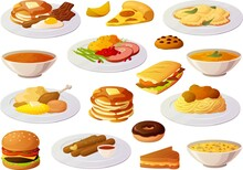 Vector Illustration Of Various American Home Cooked Food Menu Restaurant Items Isolated On White Background