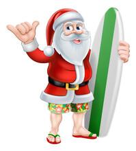 Christmas Cartoon Of Santa Claus With His Surfboard Doing A Shaka Hand Sign