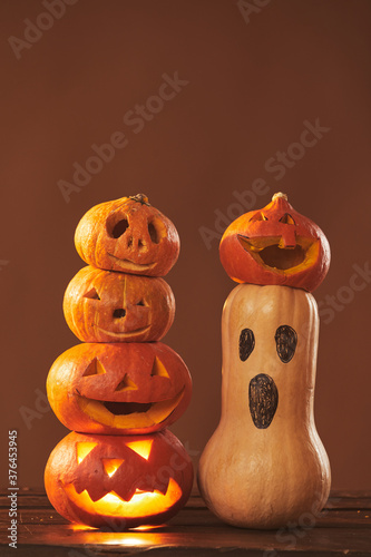 Cuadros en Lienzo Still life composition studio shot of ripe pumpkins carved and gourd painted for