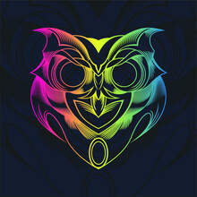 Owl Line & Shape Art, Color Full. Perfect To Tshirt Design Or Background.