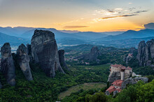 Holy Monastery Of St. Nicholas Anapafsas At Sunset, UNESCO World Heritage Site, Meteora Monasteries