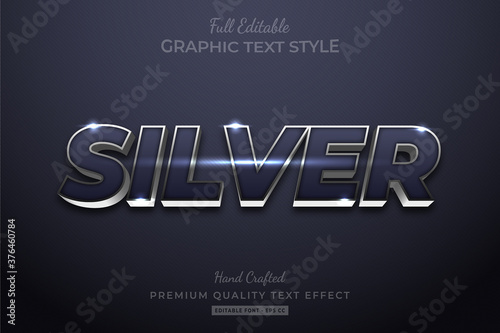 Foto Silver Elegant Editable 3D Text Style Effect Premium