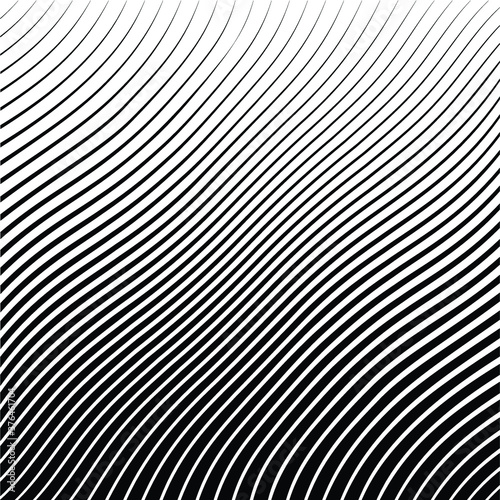 Abstract warped Diagonal Striped Background . Vector curved twisted slanting, waved lines texture  Wall mural