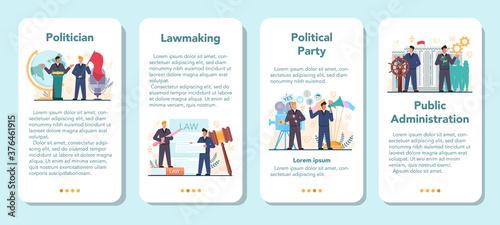 Politician mobile application banner set Canvas
