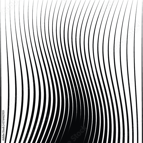 Abstract warped  Striped Background . Vector curved, waved lines texture  Wall mural