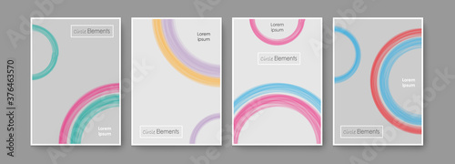Vector, colorful background pack, colorful template with brushed colorful circle Canvas-taulu