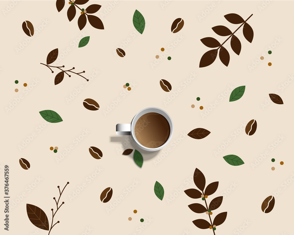 Fototapeta White cup of fresh coffee with steam smoke isolated on coffee tree branches with flower, leaves and beans background with copy space.Decorative design for banner,poster advertisement, flyers and card.