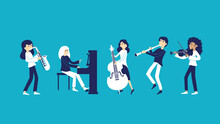 A Band Of Musicians Plays Musi...