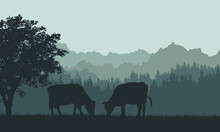 Illustration Of A Mountain Landscape With Hills, Forest And Silhouettes Of Grazing Cows. Grass And Pasture Under The Green Sky, Vector