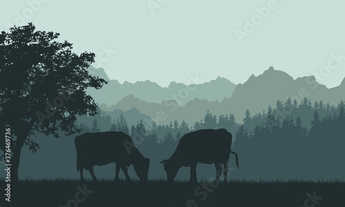 Canvas Print Illustration of a mountain landscape with hills, forest and silhouettes of grazing cows