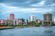 canvas print picture - Boca Raton buildings along the river from South Inlet Park, Florida
