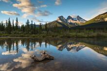 Three Sisters Sunrise At Policeman Creek, Canmore, Alberta, Canadian Rockies, Canada