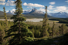 River Valley And Mount Sarback, Banff National Park, UNESCO World Heritage Site, Alberta, Canadian Rockies, Canada