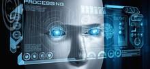 Robot Humanoid Face Close Up W...
