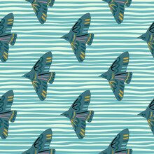 Seamless Pattern With Hand Drawn Bird Vraetive Silhouettes. Blue Stripped Background. Animal Artwork.
