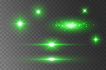 Flare Lights Effect Isolated On Transparent Background. Green Flash Lense Rays And Spotlight Beams Set. Glow Star Burst With Sparkles Or Vector Magic Fireflies At Night