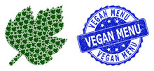 Rubber Vegan Menu Round Stamp And Fractal Grape Leaf Icon Composition
