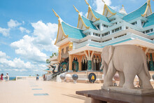 Eastern Of Thailand Famous Temple Design By Blue Tone Called Wat Pa Phu Kon