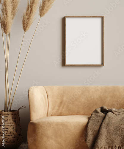 Mock up frame in home interior background, beige room with minimal decor Tableau sur Toile