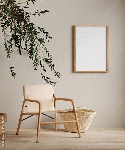 Papel de parede Mock up frame in home interior background, beige room with minimal decor