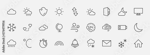 Fototapeta Set of Weather vector line icons. Contains symbols of the sun, clouds, snowflakes, wind, rainbow, moon and much more. Editable Stroke. 32x32 pixels. obraz