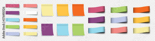 Obraz Post note stickers. Sticky notes. Stickers with sheets and labels, isolated. Collection realistic Labels, Stickers, Ribbons, Banners and Tags. Vector illustration - fototapety do salonu