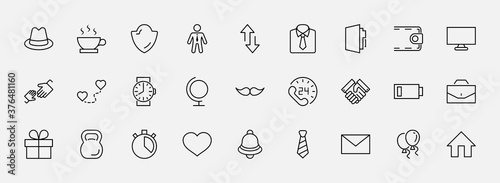 Photo Father's Day Set Line Vector Icons