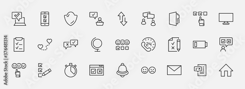 Fotografering Set of Survey Related Vector Line Icons