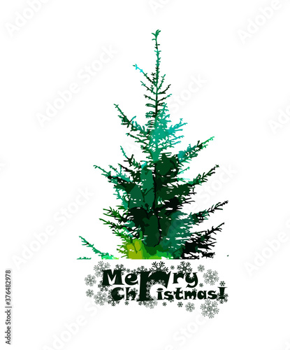 Watercolor Christmas tree. Merry Christmas. Vector illustration
