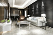 3d rendering black modern dining room and living room with luxury decor