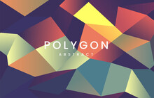 Abstract Background Of Triangles Polygon, Abstract Polygon Dark Blue, Yellow, Orange, Abstract Polygon Concept Tech Background. Vector Digital Art Design Eps 10