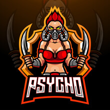 Psycho Girls Esport Logo Mascot Design
