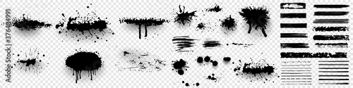 Ink splashes. Black inked splatter dirt stain splattered spray splash with drops blots isolated. Ink splashes stencil. High quality manually traced. Drops blots isolated. Vector illustration - 376484991