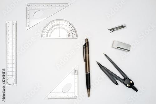 Obraz na plátně fournitures scolaire, accessoires pour géométrie 4