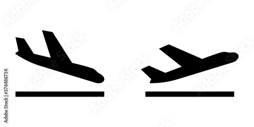 Obraz Arrivals and departure plane signs. Airport Sign. Simple icons, airplane landing and takeoff. Airport icons set: departures, arrivals. Vector illustration Aircraft or Airplane - fototapety do salonu