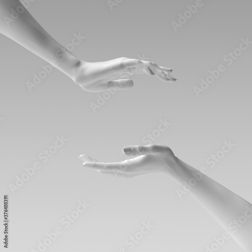 Fotografia Two female hand sculptures giving, showing some product, isolated on white