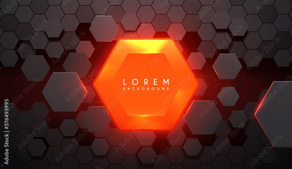 Abstrct hexagonal background with hot glow element