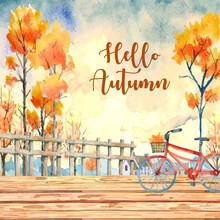 Autumn Watercolor Painting With Many Orange Trees With A Red Bike On The Wooden Bridge On The Front.