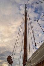 Mast And Ropes Of Historic Sailing Schooner