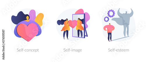 Obraz Personal image abstract concept vector illustration set. Self-concept, self-image and esteem, social role, individual psychology, confidence, positive self-perception, portrait abstract metaphor. - fototapety do salonu