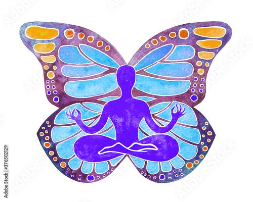 Illustrazione meditazione yoga concentrazione, rilassamento, zen. Wallpaper Mural