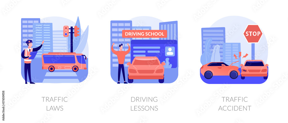 Fototapeta Driving license abstract concept vector illustration set. Traffic laws, driving lessons, traffic accident, road safety, violation fine, certified instructor, car crash investigation abstract metaphor.