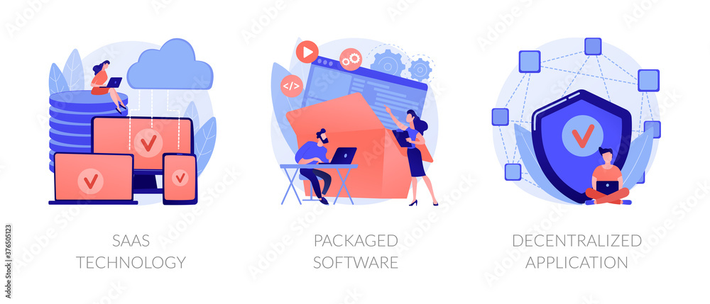 Fototapeta Application service abstract concept vector illustration set. SaaS technology, packaged software, decentralized application, cloud computing, software licensing, subscription abstract metaphor.