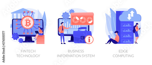 IT infrastructure and technology integration abstract concept vector illustration set. FinTech technology, business information system, edge computing, payment processing, network abstract metaphor.
