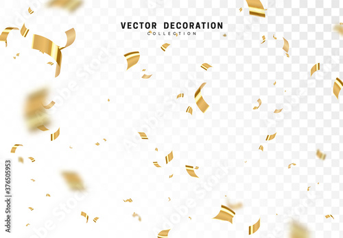 Valokuva Falling shiny golden confetti isolated on transparent background